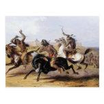 Karl Bodmer - carrera de caballos de los Siux Tarjetas Postales