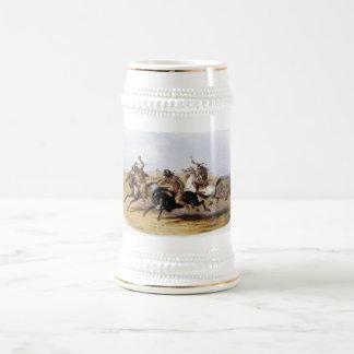 Karl Bodmer - carrera de caballos de los Siux Jarra De Cerveza