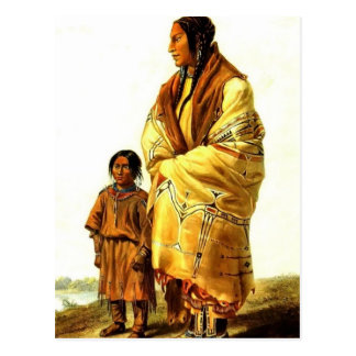 Karl Bodmer- Dacota Woman and Assiniboin Girl Post Cards