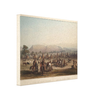 Karl Bodmer- Encampment of the Piekann Indians Stretched Canvas Print