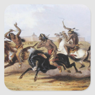 Karl Bodmer - Horse Racing of the Sioux Square Sticker