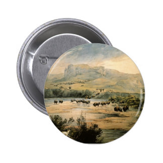 Karl Bodmer- Landscape with buffalo on Missouri Buttons