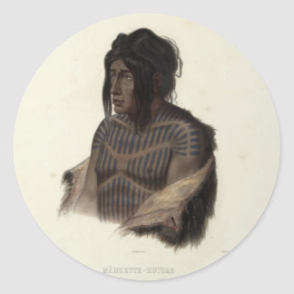 Karl Bodmer-Mahsette-Kuiuab,Chief of Cree Indians Classic Round Sticker