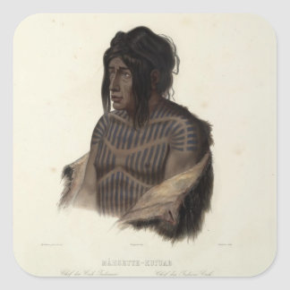 Karl Bodmer-Mahsette-Kuiuab,Chief of Cree Indians Square Sticker