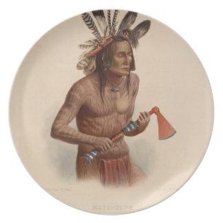Karl Bodmer- Mato-Tope adornado con insignias Plato Para Fiesta