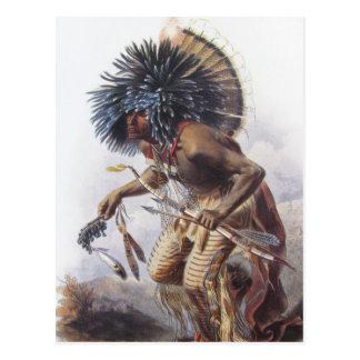 Karl Bodmer - Moennitarri Warrior doing Dog Dance Postcard