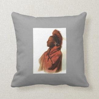 Karl Bodmer-Saki Indian,Wakusasse-Musquake Indian Pillow