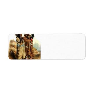 Karl Bodmer-SihChida&MahchsiKarehde,Mandan Indians Custom Return Address Labels