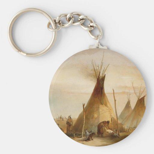 Karl Bodmer- Sioux teepee Keychains