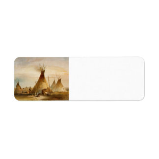 Karl Bodmer- Sioux teepee Label