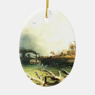 Karl Bodmer- Snags on the Missouri River Christmas Ornament