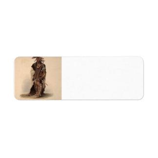 Karl Bodmer- Wahk-Ta-Ge-Li, a Sioux Warrior Custom Return Address Label