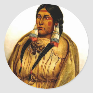Karl Bodmer- Woman of The Cree Tribe Classic Round Sticker