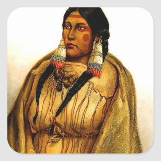 Karl Bodmer- Woman of The Cree Tribe Square Sticker