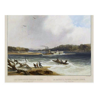Karl Bodmer- Yellowstone, Missouri River steamboat Postcard