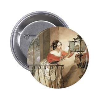 Karl Bryullov- Italian Woman Lightning a Lamp Button