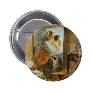 Karl Bryullov-Italian Woman with Child by a Window Pinback Buttons