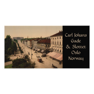 Karl Johans Gade y Slottet, Oslo, Noruega Tarjeta Con Foto Personalizada