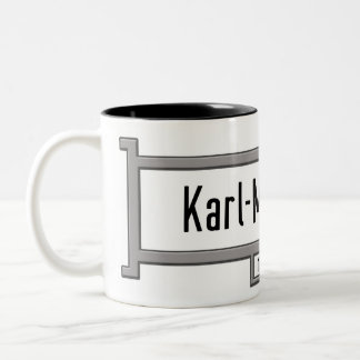 Karl-Marx-Allee, Berlin Street Sign Two-Tone Coffee Mug