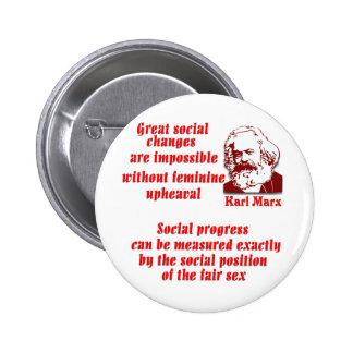 Karl Marx en mujeres Pin Redondo De 2 Pulgadas