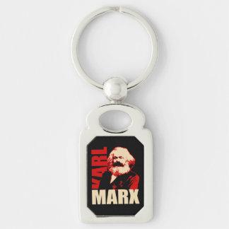 Karl Marx Portrait, Communist / Socialist Silver-Colored Rectangular Metal Keychain