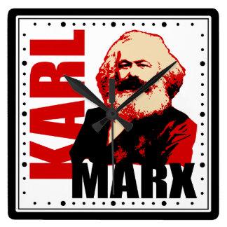 Karl Marx Portrait Square Wall Clock