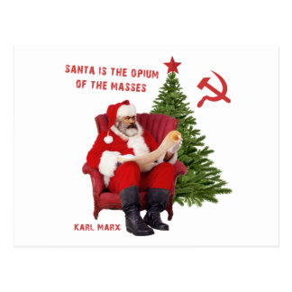 Karl Marx Santa Postcard