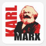 Karl Marx, socialista y comunista Pegatina Cuadrada