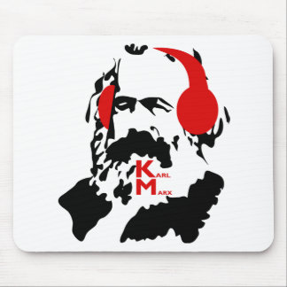 KARL MARX WITH HEADPHONES MOUSE PAD