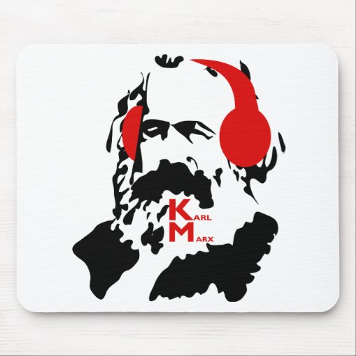 KARL MARX WITH HEADPHONES MOUSE PADS