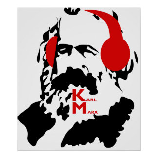 KARL MARX WITH HEADPHONES POSTER