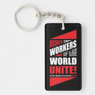 Karl Marx Workers of the World Unite Double-Sided Rectangular Acrylic Keychain
