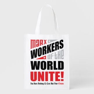 Karl Marx Workers of the World Unite Grocery Bag