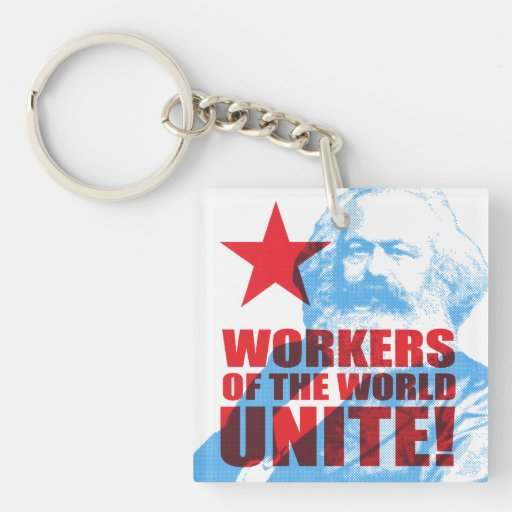 Karl Marx Workers of the World Unite! Square Acrylic Key Chains