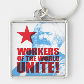 Karl Marx Workers of the World Unite! Portrait Silver-Colored Square Keychain