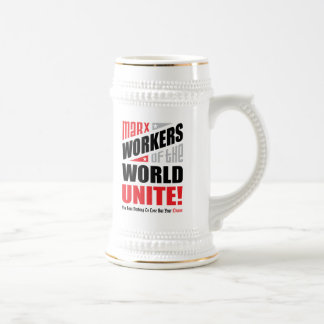 Karl Marx Workers of the World Unite Typographic Beer Stein