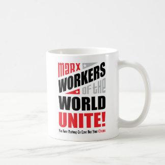 Karl Marx Workers of the World Unite Typographic Coffee Mug