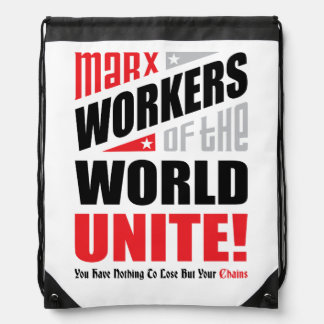 Karl Marx Workers of the World Unite Typographic Drawstring Bag