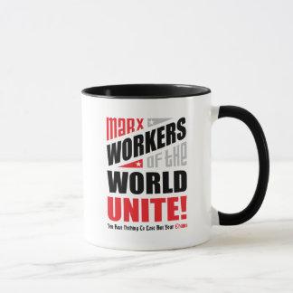 Karl Marx Workers of the World Unite Typographic Mug