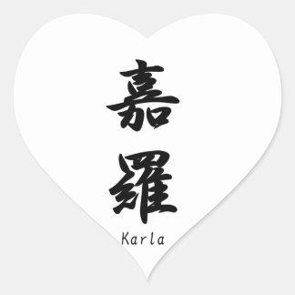 Karla translated into Japanese kanji symbols. Heart Sticker