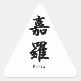 Karla translated into Japanese kanji symbols. Triangle Sticker