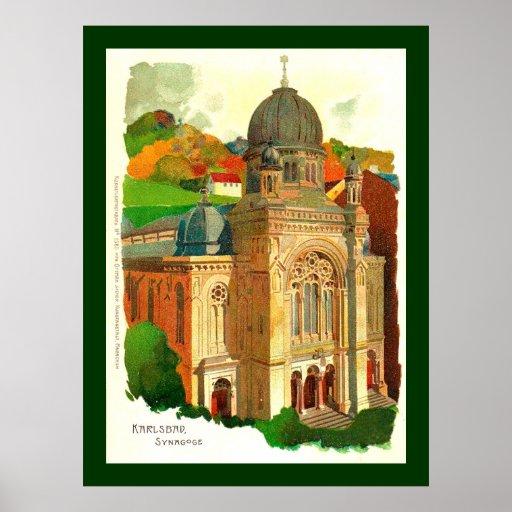 Karlovy varía la sinagoga (de Karlsbad) Póster
