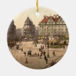 Karlsplatz and Railway Station, Munich, Germany Double-Sided Ceramic Round Christmas Ornament