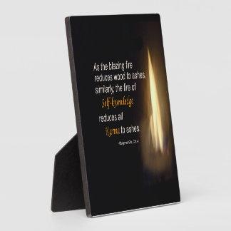 Karma Blazing Fire Self-knowledge Quote Plaque