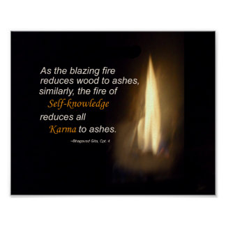 Karma Blazing Fire Self-knowledge Quote Plaque Poster