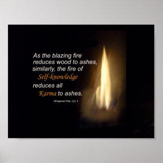 Karma Blazing Fire Self-knowledge Quote Poster