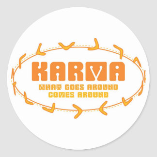 Karma Boomerang Classic Round Sticker
