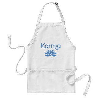 Karma in Blue with Lotus Flower Tshirt Adult Apron