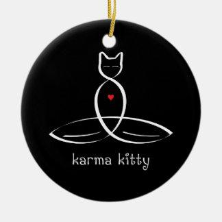 Karma Kitty - Fancy style text. Ceramic Ornament