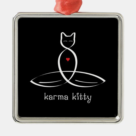 Karma Kitty - Fancy style text. Metal Ornament